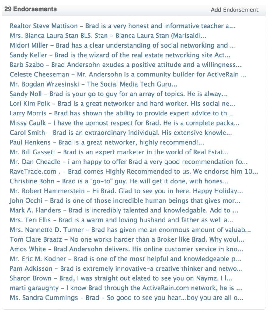 Brad Andersohn Testimonials