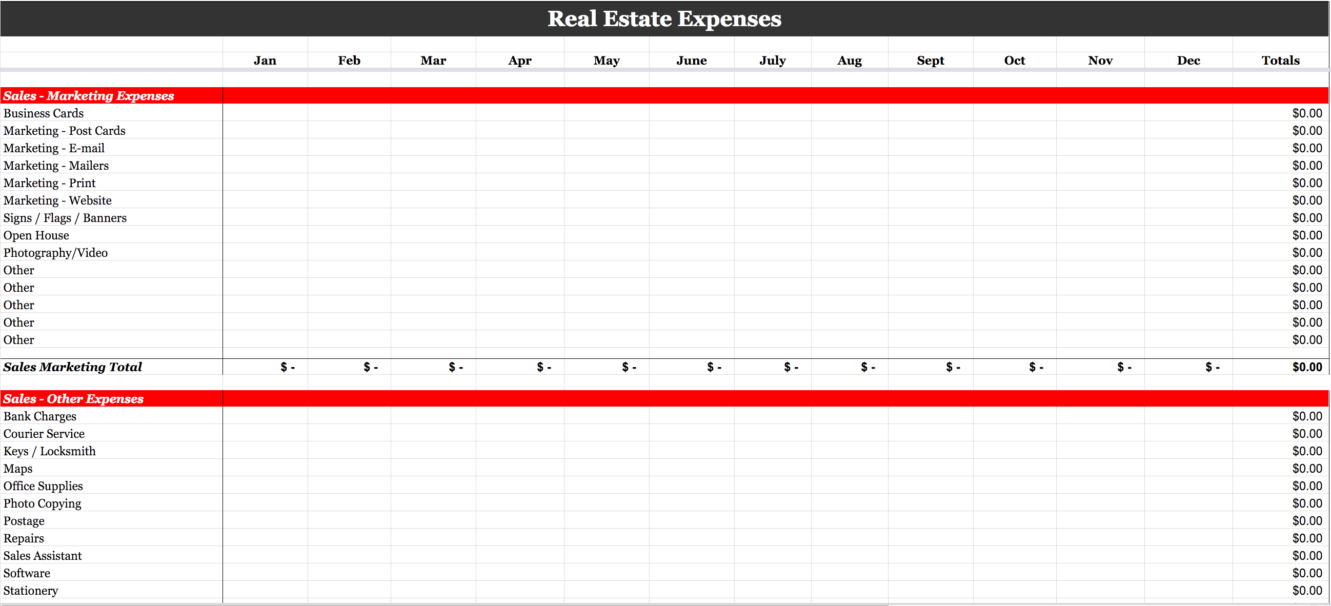 Real Estate Expense Tracking